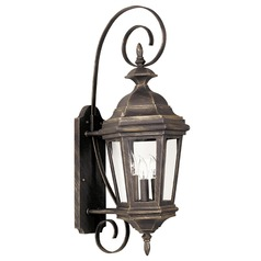 Outdoor Wall Light with Clear Glass in Antique Patina Finish