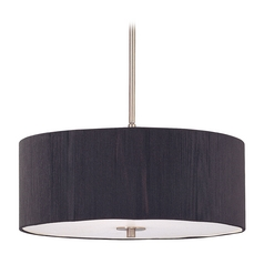 Design Classics Lighting Modern Drum Pendant Light with Black String Shade DCL 6528-09 SH7514 KIT