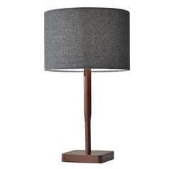 Adesso Home Ellis Walnut Rubber Wood Table Lamp with Drum Shade