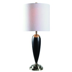 Dana Ebony Wood with Brushed Steel Accents Table Lamp with Cylindrical Shade by Kenroy Home