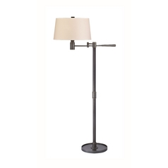 Modern Swing Arm Lamp with Beige / Cream Paper Shade in Old Bronze Finish