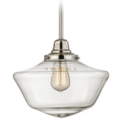 12-Inch Clear Glass Schoolhouse Pendant Light in Polished Nickel Finish