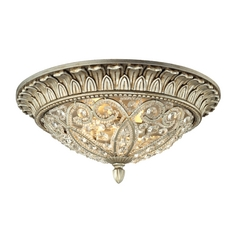 Crystal Flushmount Light in Aged Silver Finish