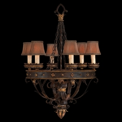 Fine Art Lamps Castile Antiqued Iron with Gold Leaf Chandelier