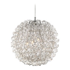 Quoizel Lighting Platinum Pageant Polished Chrome Pendant Light with Globe Shade