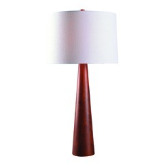Spar Red Oak Wood Table Lamp with Drum Shade by Kenroy Home