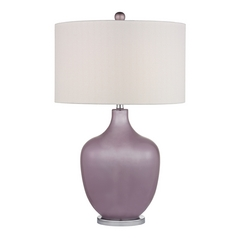 Table Lamp with White Shades in Lilac Luster with Polished Nickel Finish