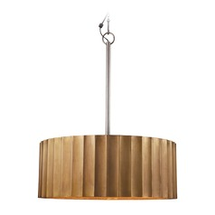 Large Brass Clad Ribbed Pendant