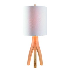 Haley Natural Wood Grain Table Lamp with Cylindrical Shade by Kenroy Home