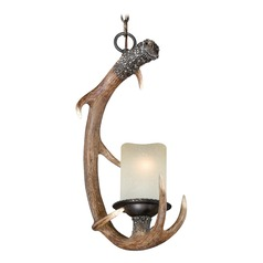 Yoho Faux Antler and Black Walnut Pendant Light with Cylindrical Shade