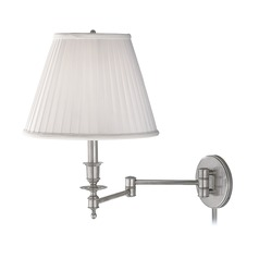 Swing Arm Lamp with White Shade in Satin Nickel Finish