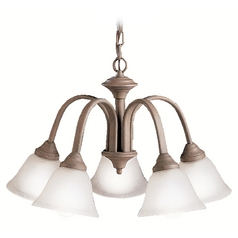 Kichler Chandelier with White Glass in Olde Brick Finish