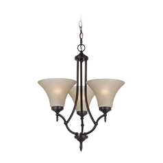 Mini-Chandelier with Beige / Cream Glass in Burnt Sienna Finish