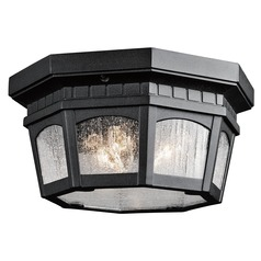 Kichler Black Outdoor Ceiling Light with Clear Glass