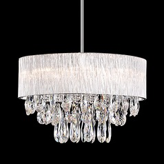 Kuzco Lighting Crystal Chrome Pendant Light with Ribbed Shade