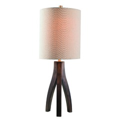 Haley Oxford Brown Wood Grain Table Lamp with Cylindrical Shade by Kenroy Home