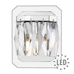 Krysta 1 Light Bath Vanity in Chrome with Faceted Crystal Glass