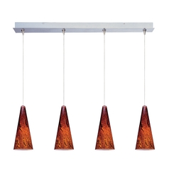 Modern Low Voltage Multi-Light Pendant Light with Amber Glass and 4-Lights