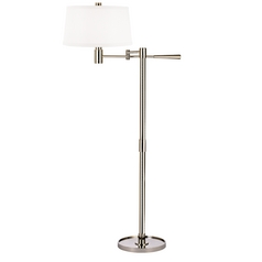 Modern Swing Arm Lamp with White Shade in Polished Nickel Finish