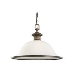 Pendant Light with White Glass in Estate Bronze Finish