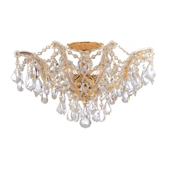 Crystal Semi-Flushmount Light in Polished Gold Finish