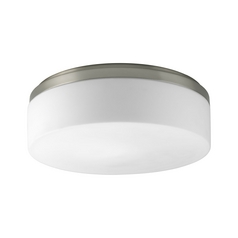Progress Flushmount Light with White in Brushed Nickel Finish