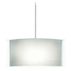 Besa Lighting Jodi Satin Nickel LED Mini-Pendant Light with Oblong Shade