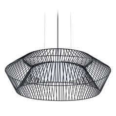 Eglo Piastre Black LED Pendant Light with Oval Shade