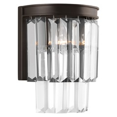 2-Light Prismatic Glass Sconce in Bronze by Progress Lighting