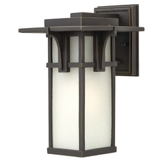 LED Outdoor Wall Light with White Glass in Oil Rubbed Bronze Finish