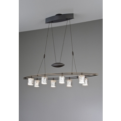 Holtkoetter Modern Low Voltage Pendant Light with Silver Glass in Hand-Brushed Old Bronze Finish