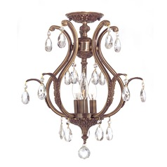 Crystorama Lighting Dawson Antique Brass Semi-Flushmount Light