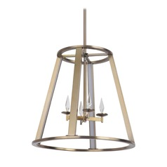 Craftmade Lighting Opus Satin Brass LED Pendant Light with Rectangle Shade