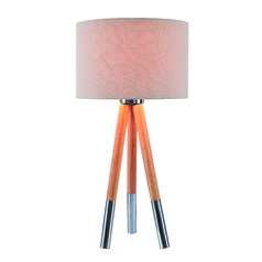 Jordon Natural Wood Grain, Brushed Steel Accents Table Lamp with Drum Shade by Kenroy Home