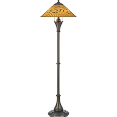 Floor Lamp with Multi-Color Glass in Bronze Patina Finish