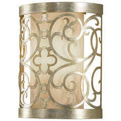 Sconce Wall Light with White Shade in Silver Leaf Patina Finish