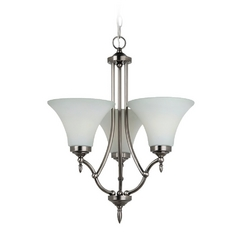 Mini-Chandelier with White Glass in Antique Brushed Nickel Finish