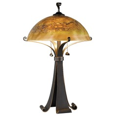 Modern Table Lamp with Iridescent Glass in Chocolate Caramel Finish
