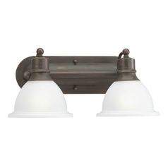 Progress Bathroom Light with White Glass in Antique Bronze Finish