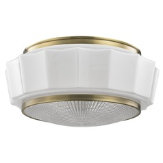 Odessa 3 Light Flushmount Light Drum Shade - Aged Brass