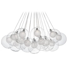 Modern Chrome LED Multi-Light Pendant with Frosted Shade 3000K 3800LM
