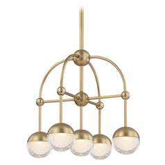 Mid-Century Modern Mini-Chandelier LED 5-Lt Brass by Hudson Valley
