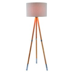 Mid-Century Modern Floor Lamp Natural Wood Grain, Brushed Steel Accents Jordon by Kenroy Home