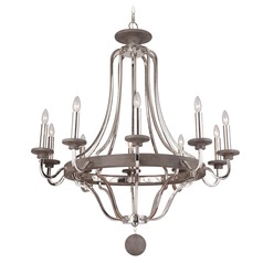 Craftmade 10-Light Chandelier in Polished Nickel / Greywood Finish