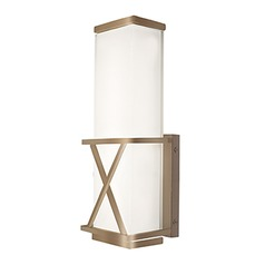 Modern Vintage Brass LED Sconce with Frosted White Shade 3000K 800LM