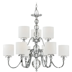 Quoizel Modern 2-Tier 9-Light Chandelier with White Glass in Polished Chrome