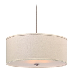 Large Modern Drum Shade Pendant Light in Satin Nickel Finish