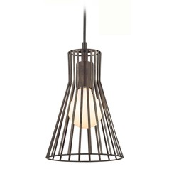 Mini-Pendant with Silver Slatted Shade and LED Bulb