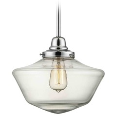 12-Inch Clear Glass Schoolhouse Pendant Light in Chrome Finish
