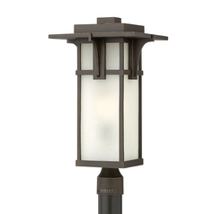 Etched Seeded Glass Post Light Oil Rubbed Bronze Hinkley Lighting